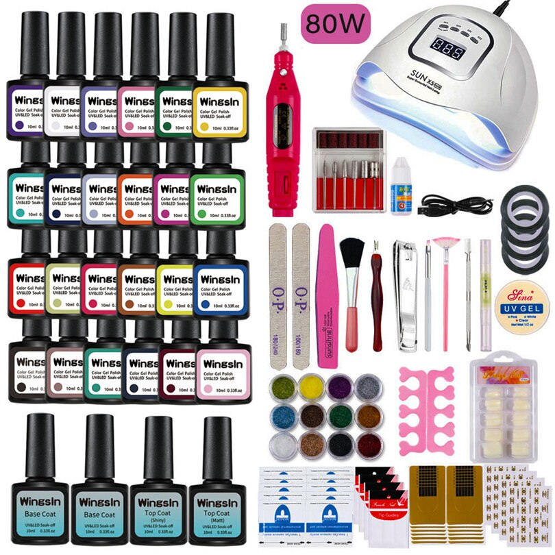 Gel Nail Set UV LED Lamp Dryer With 12/24 Colors Polish Kit Soak Off Manicure Electric Drill Tools S