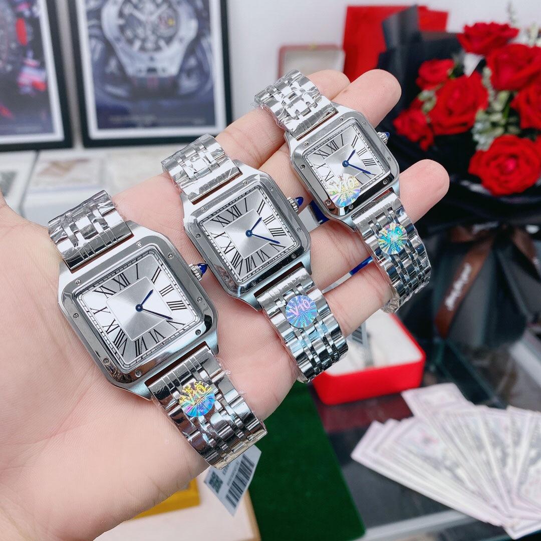 Luxury brand Men/Women Watch Square Case Calendar Display Roman Numerals Leather Strap Wrist Watch Gifts