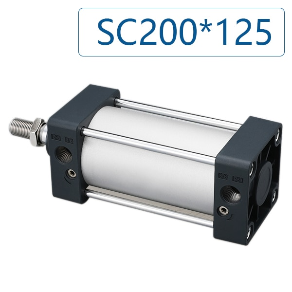 SC200 * 125 القياسية الهوائية اسطوانة الألومنيوم تتحمل 200 مللي متر السكتة الدماغية 125 مللي متر SC200x125 اسطوانة ، اختياري المغناطيس