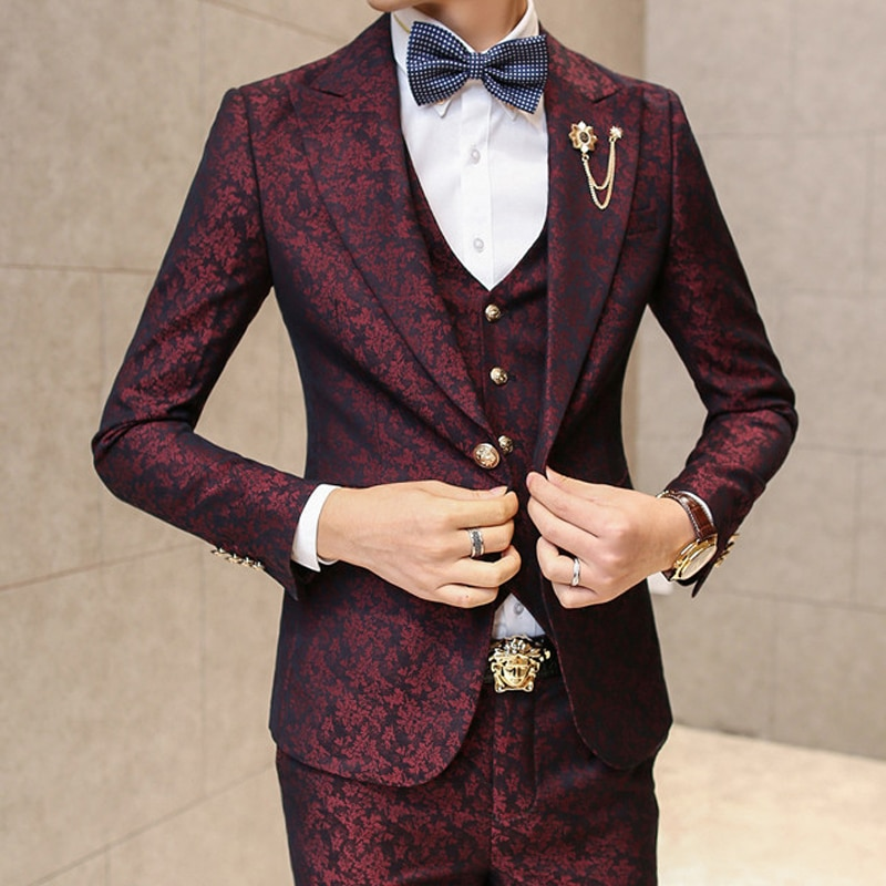 Европейские и американские модные костюмы с узором, повседневные мужские Индивидуальные костюмы, облегающие костюмы, костюмы из трех предм...