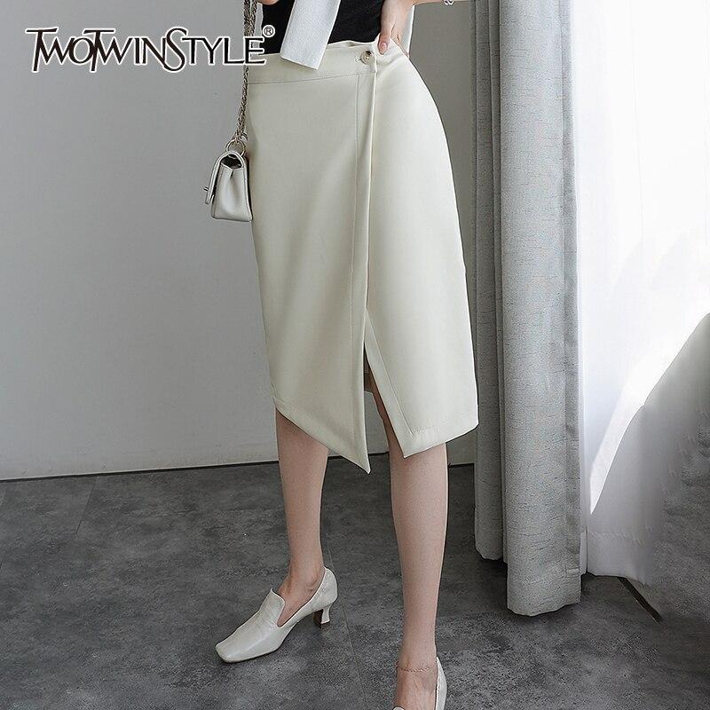 TWOTWINSTYLE بلون التنانير الطويلة للإناث عالية الخصر التخسيس المرأة عادية بولي Skirt تنورة موضة الخريف جديد 2021