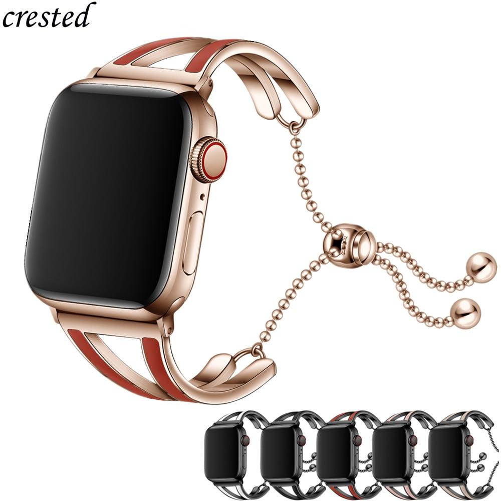 Pulseira feminina para apple watch band 38mm 42mm iwatch 5 banda 44mm 40mm aço inoxidável pulseira apple watch 3 4 2 1 42/44 38/40mm