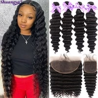 loose deep wave bundles with frontal peruvian hair bundles with closure remy 100 human hair bundles with frontal by women