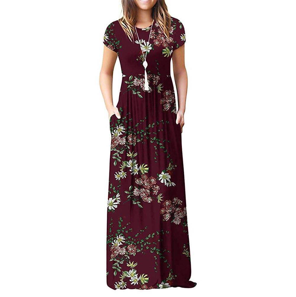 GULE GULE Short Sleeve Summer Pleated Empire Waist Round Neck Floral Maxi Long Pockets Dress empire waist tartan print slip dress