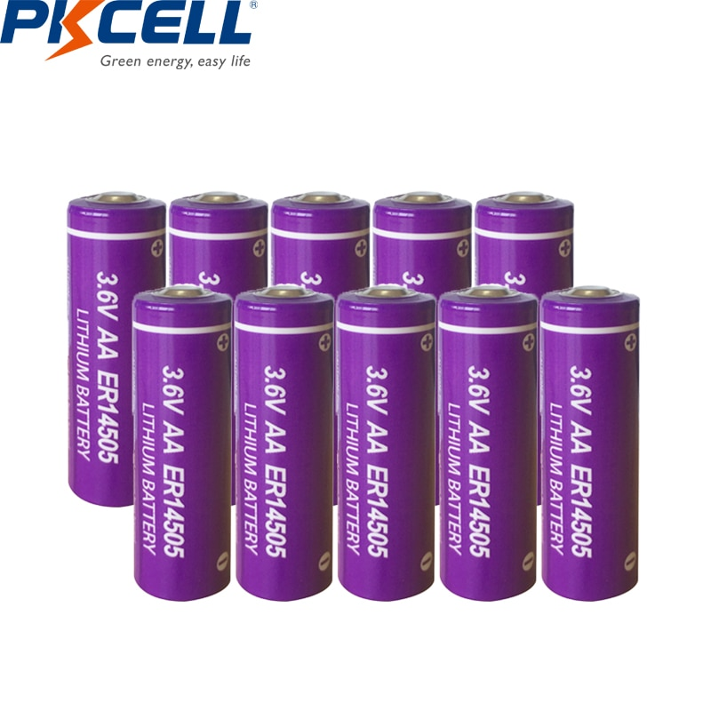 10 шт. Pkcell ER14505 батарея LiSCLO2 3,6 В 2400 мАч 14505 AA литиевая батарея, первичный аккумулятор LR6 R6P