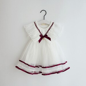 Summer New Baby Girl Dress 3 Year Birthday Dress White Lace Baptism Vestido Infantil Bowknot Princess Dresses for Wedding Party