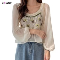 cute womens t shirt sweet floral print crop top ladies long sleeve chiffon shirt summer clothes for women apricotwhite