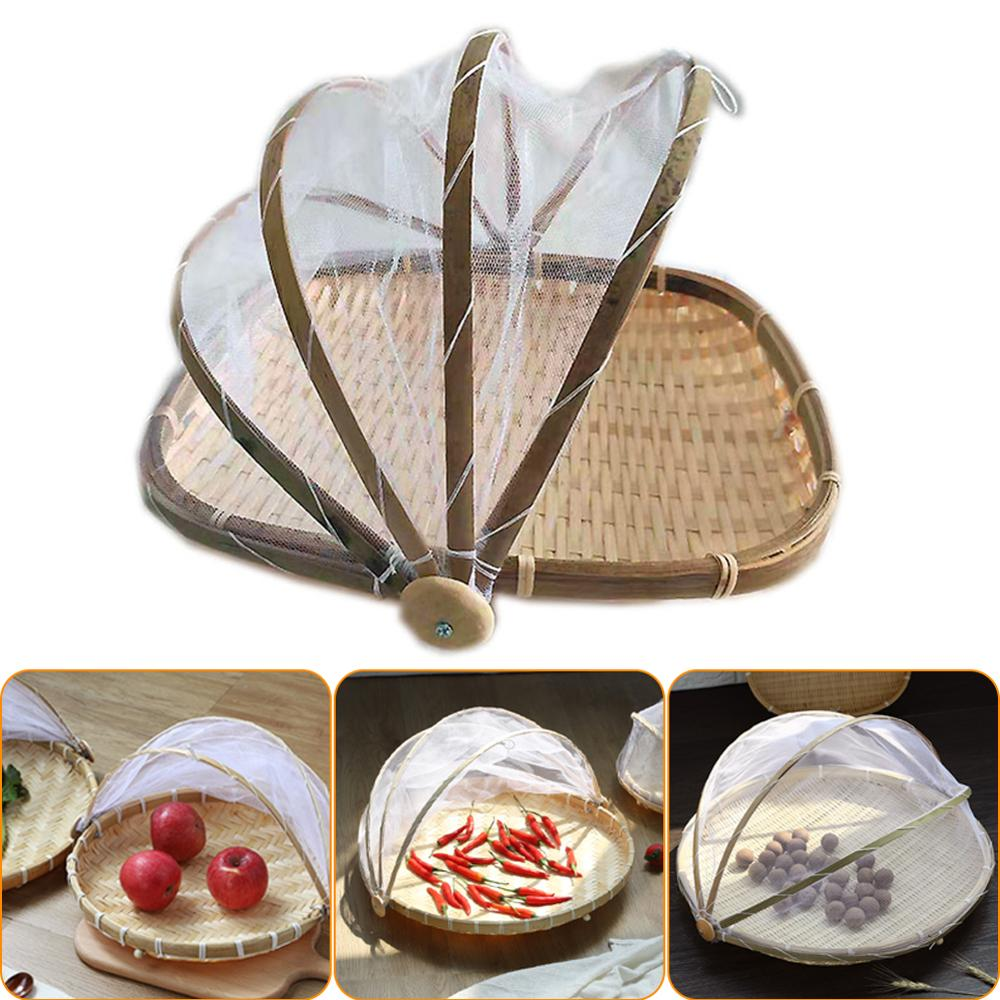 Food Serving Tent Basket Fruit Vegetable Bread Cover Storage Container Outdoor Picnic Food Mesh Dustpan