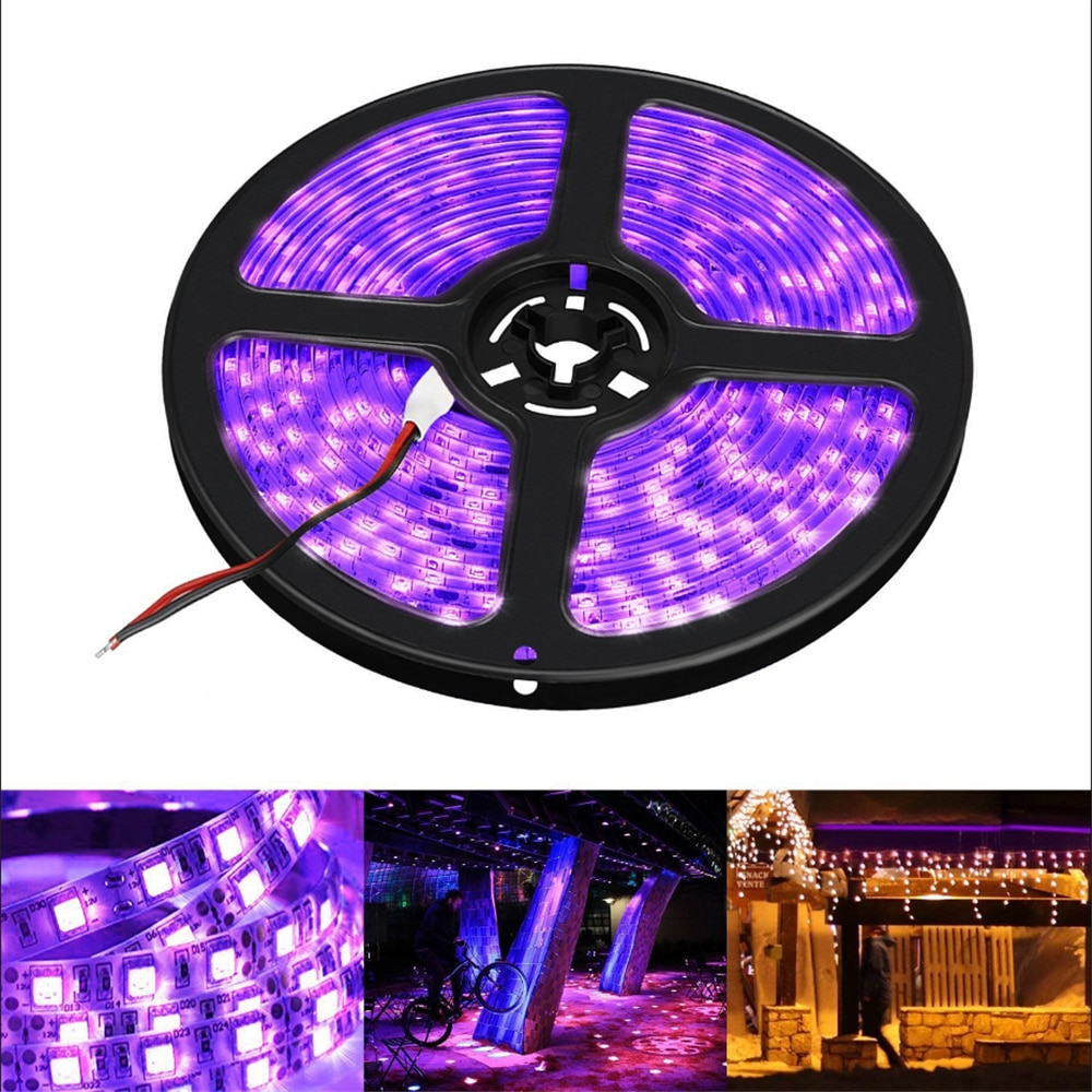 Tira de luz led uv 395-405nm cinta ultravioleta verificación de billetes lámpara fluorescente de desinfección de acuario diodo de uñas 2835 12V