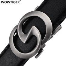 WOWTIGER negro 3,5 cm cuero de vaca correa de cinturón para hombre cinturones con hebilla automática para hombres marca de lujo diseñador hombres cinturón