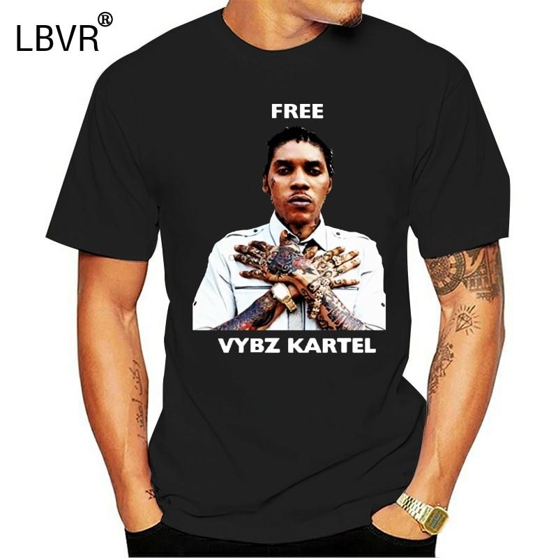 Бесплатная доставка Vybz Kartel газа рэп хип-хоп певица Ямайка регги футболка
