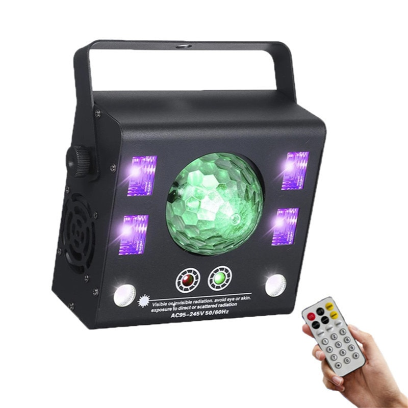 Xmas Lights 4 In 1 LED Stage Projector Strobe Flash Magic Crystal Ball UV Laser Effect Beam Spot for DJ Disco Remote Dmx Music