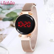 LED Uhr herren Digitale Elektronische Uhr Uhr frauen Mode Kleid Armbanduhr Milan Magnet Schnalle Quarzuhr