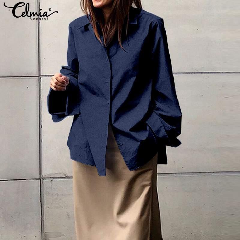 Celmia Plus Size Women Casual Lapel Shirt Fashion Tunic Long Sleeve Shirts Autumn Solid Blouse Button Blusas Loose Top Femininas