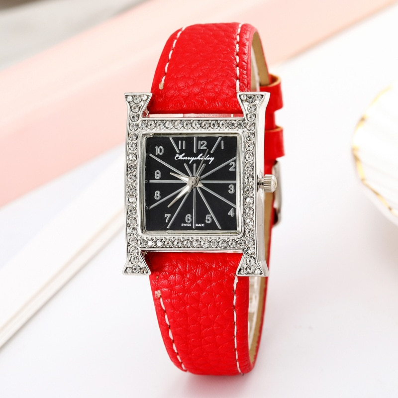 2021 Explosion Style Fashion Square Ladies Diamond Watch Luxury Brand Casual Belt Quartz