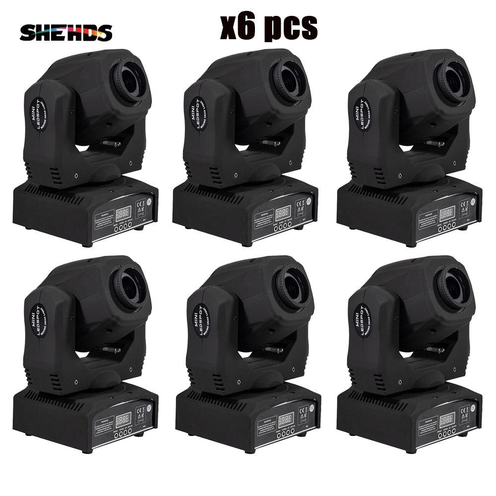 SHEHDS 6 قطعة بقعة 60W الصمام تتحرك رئيس ضوء مع Gobos عالية سطوع DMX512 DMX 9/11 قنوات المهنية LED ضوء المرحلة