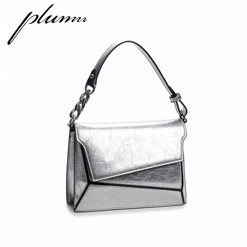 Plumn irregular diamante geometria prata pequeno quadrado bolsa de ombro portátil feminino