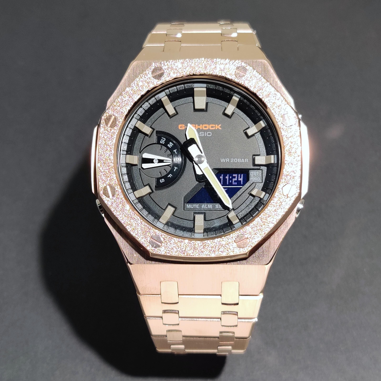 Hontao GA2100 3rd Generation Gold Beating Process GA2110 Metal Watch Strap Bezel Replacement Accessories for GA-2110/2100 enlarge
