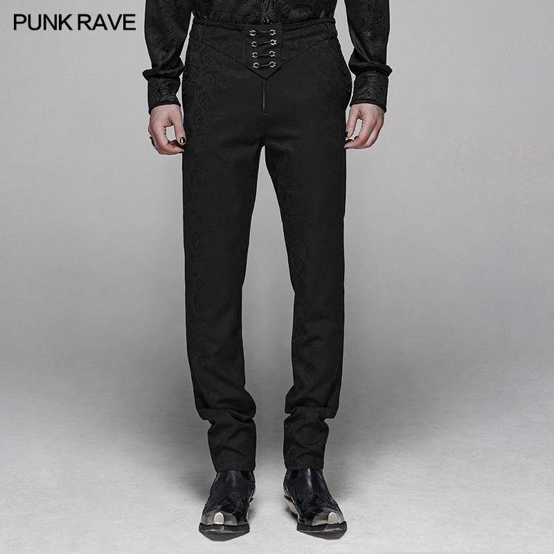 PUNK RAVE hombres gótico Floral Metal Swallow negro traje pantalones Gorgeous Night Party Club hombres Formal Floral Mens Pantalones
