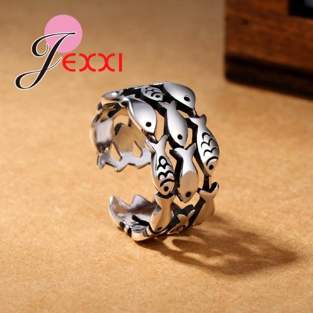 Новое-поступление-925-пробы-серебряные-кольца-с-рыбками-для-Для-женщин-рождественские-подарки-Регулируемый-Открытое-кольцо-Дамы-boho-ювелирны
