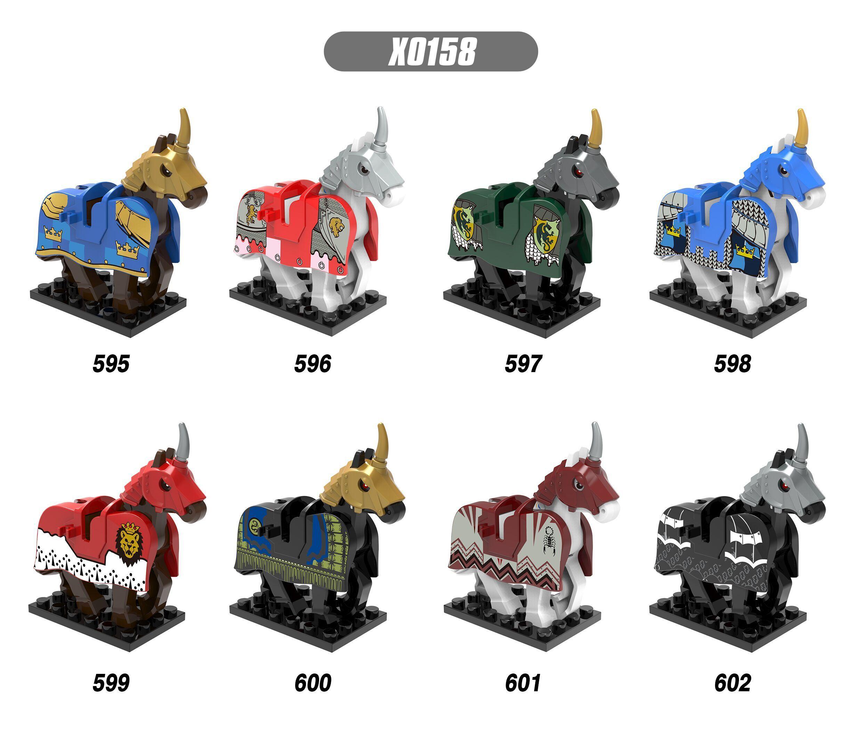 Superhéroes medievales Rome Knights Wars caballo acción Anime bloques colección juguetes para niños XH 595