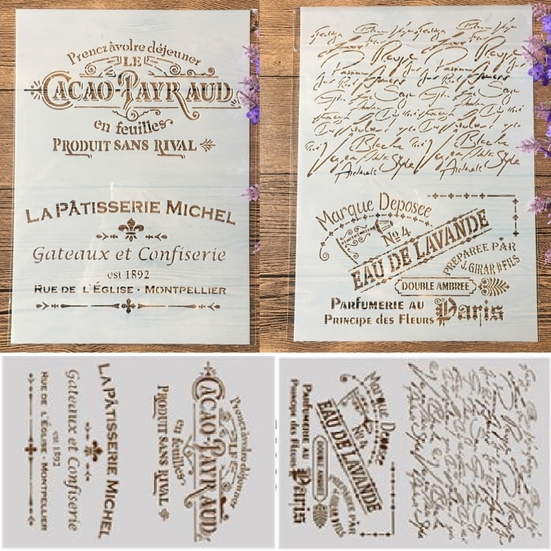 2Pcs A4 French Words DIY Craft Layering Stencils Painting Scrapbooking Stamping Embossing Album Paper Template