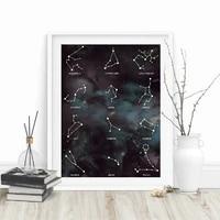 Toile de peinture abstraite du zodiaque  constellation  affiches dart mural pour decoration de salon  decoration de maison