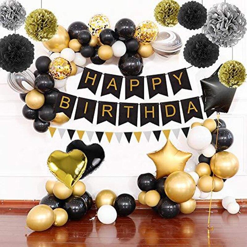 بالونات ألمنيوم سوداء وذهبية ، زينة حفلات أعياد الميلاد ، لافتة للكبار ، مناديل ورقية ، شرابات ، لوازم هدايا الذكرى السنوية