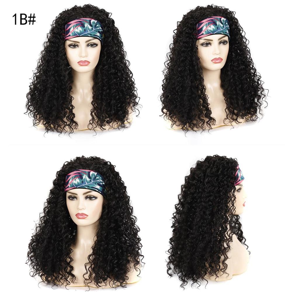 Deep Curly Wave Headband Wig Synthetic Hair Wigs For Black Women Heat Resistant Hair Wigs Glueless Headband Wig