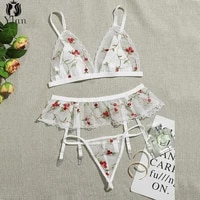 2021 female underwear 3pcs bra set floral embroidery sexy women lingerie three point lace underwear push up bra and panty suit