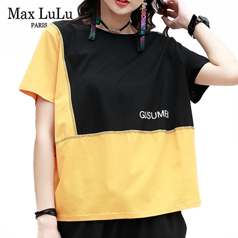 Max LuLu 2020 Korean Fashion Streetwear Ladies Summer Patchwork Tee Shirts Women Cotton T-shirts Female Short Sleeve Casual Tops