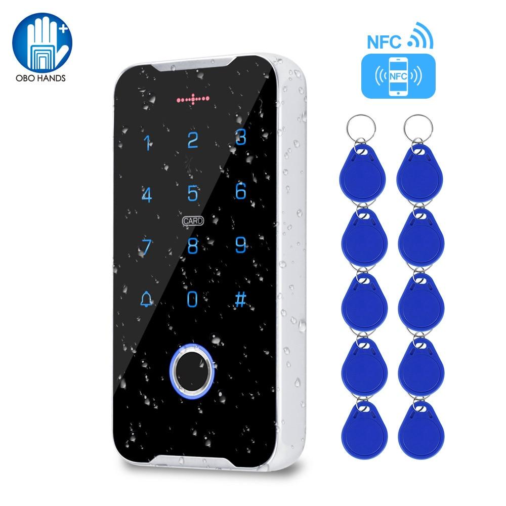 في الهواء الطلق التحكم في الوصول لوحة المفاتيح IP68 مقاوم للماء بصمة نظام لوحة المفاتيح تتفاعل 13.56MHz قارئ بطاقات دعم الهاتف المحمول NFC