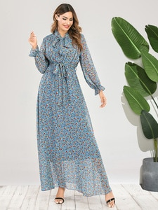 Clothing Women Dress Chiffon Printed Long Sleeve Slim Fit One-piece   Skirt Woman   Plus Size  for
