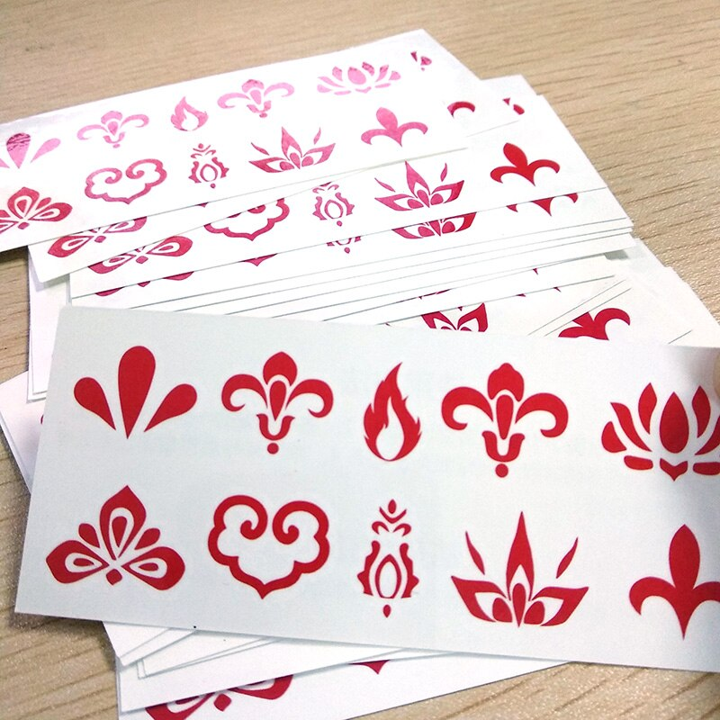 Tatuaje Temporal de 20 piezas para mujer, tatuaje de cejas falsas a prueba de agua, Tatuajes Temporales de pétalos rojos de estilo chino