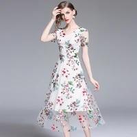 lukaxsikax 2021 new summer women v neck short sleeve slim long dress high quality mesh flowers embroidery runway dress