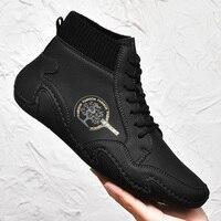 Брендовая обувь для прогулок в стиле ретро; Кожаные мужские высокие ботильоны; Роскошная Повседневная обувь; Кроссовки; Большие размеры 39-48