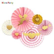 Nicro-Kit de 6 pièces/ensemble de ventilateurs en or rose, saint-valentin, forme de cœur, amour cupidon, papier pour bricolage pièces de fête, # FS22