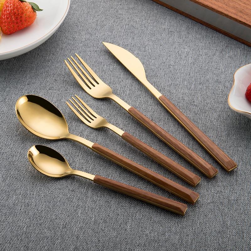 أدوات مائدة من فولاذ لا يصدأ سكين قاعدة الملاعق Cubiertos أدوات مائدة خشبية أدوات المائدة الذهبية 20 قطعة المطبخ تقليد الخشب أطقم أدوات المائدة