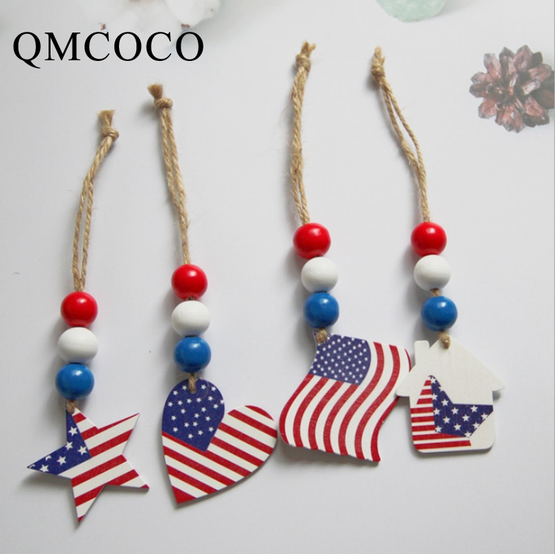 DIY Independence Day Decor Wood Bead Tassels Home with American Flag Pendant Bedroom Wall Decoration Wall Hanging Boho Gift