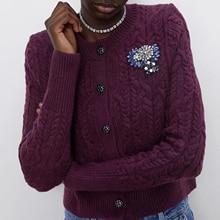 ZA autumn winter womens cardigan jewelry decorative knitted sweater women full sleeve Casual knit sweater female tops