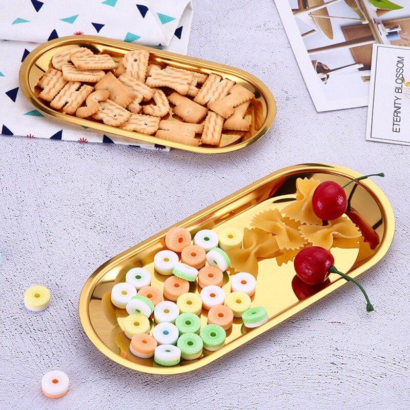 2020 nova nordic rosa ouro metal bandeja de armazenamento luxo bronze ouro prata placa oval ferro placa frutas bandeja exibição jóias