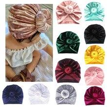 Solid Round Knot Turban Newborn Baby Turban Baby Girl Hair Accessories  Velvet Headbands Soft Headband For Kids