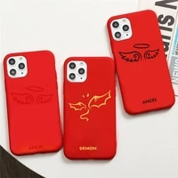 demon angel couple bff cartoon phone case red candy color for iphone 11 12 mini pro xs max 8 7 6 6s plus x se 2020 xr