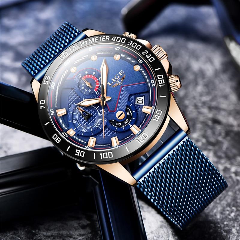 7 jours livraison rapide LIGE hommes montres mode bleu maille acier Quartz montre hommes de luxe affaires étanche chronographe 2020 nouveau