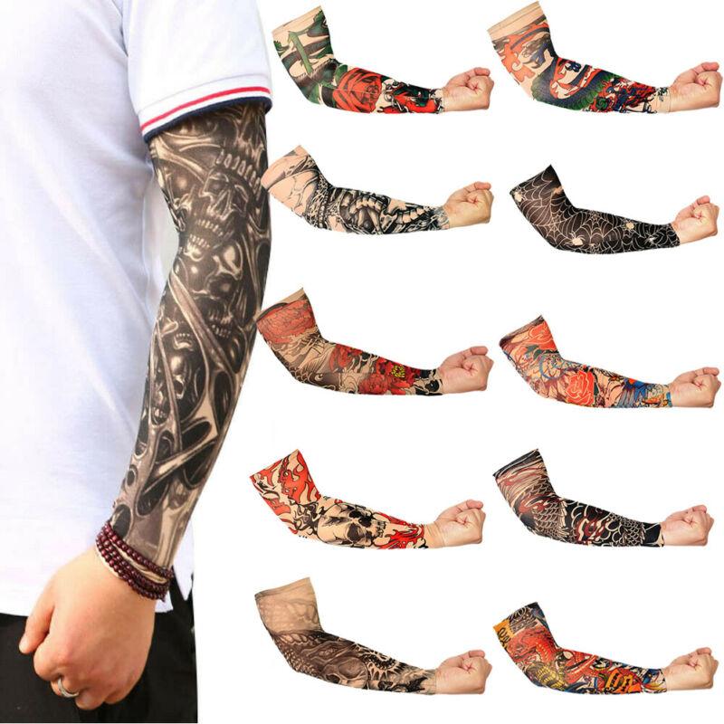 Fashion Temporary Tattoo Sleeve Nylon Elastic Arm Sun Protection Men Womens Outdoor Golf Sport Hiking Cycling Arm Sleeve Cover