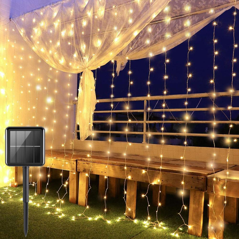LED String Lights Outdoor Fairy Lights 8 Modes Solar Powered for Christmas New Year Party Wedding Bedroom Window Curtain Garland