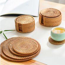 Napperons de Table en rotin 8-20CM   Tapis de Table à manger en paille de maïs naturel, tapis de Table thermo-isolant, porte-tasses sous-verres accessoires de cuisine