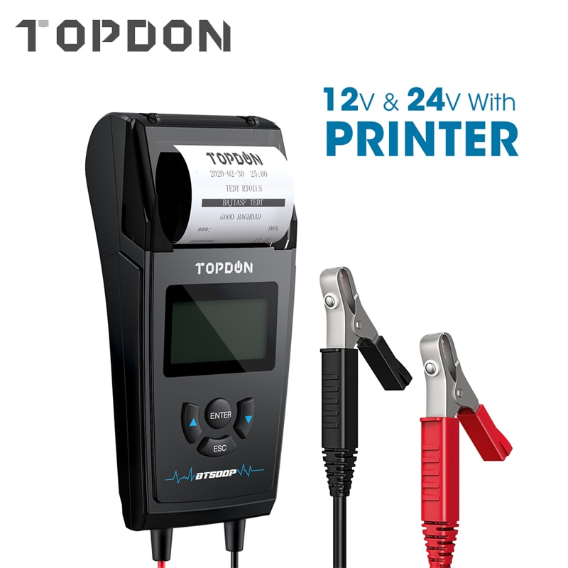 TOPDON BT500P 12V 24V Car Battery Tester with Printer Battery Load Test for Motorcycle Auto Charging Cranking Battery Analyzer duoyi dy2015 12v car battery system tester capacity maximum electronic load battery cranking charge test digital diagnostic tool