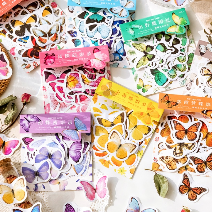 8 Bags Mixed Total 360PCS Colorful Butterfly Sticky Stickers Set 90mm*143mm Free Shipping
