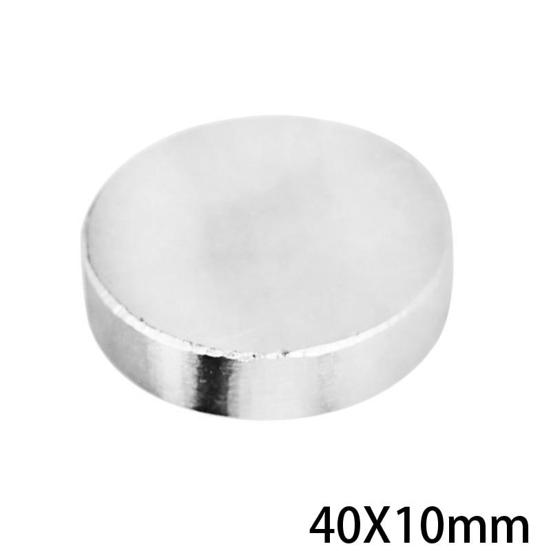 1/2/3/5/10 Uds 40x10mm N35 gran imanes redondos 40mm x 10mm x 10mm imán de neodimio 40x10mm NdFeB permanente potente magnético 40*10